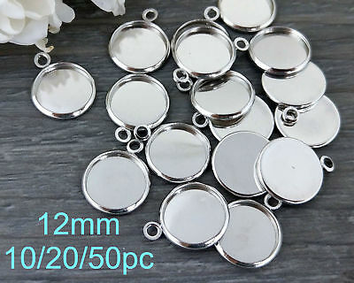 12mm Bezel Settings 10/20pc - Silver Tray Cabochon Blanks - Cab Settings   CS102