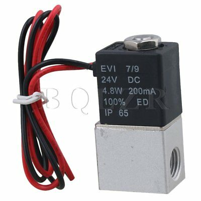 """2 Way Normally Closed G1/4"""" DC24V Pneumatic Electric Solenoid Air Valve BQLZR"""