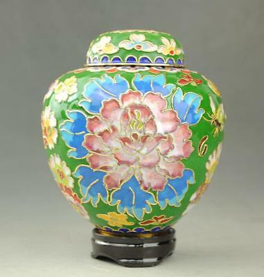 Beautiful Chinese Cloisonne Hand-painted Peony  pot Jar  G