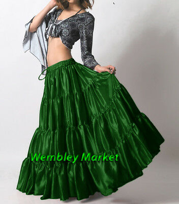 Olive Green Satin 6 Yard 4 Tiered Gypsy Skirt Belly Dance Tribal Jupe Flamenco