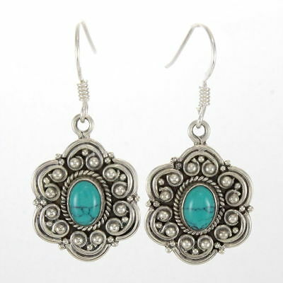 925 Sterling Silver Handmade Fine Earring Beautiful Turquoise Cab Stone 1.4''