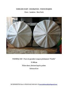 Rare Pair Of Large Patelle Shell Form Art Deco Plafonniers / Giacometti - Frank