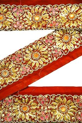 Vintage Sari Lace Border Trim Embroidered Sewing Antique Ribbon Lace 1 Yd ST1840