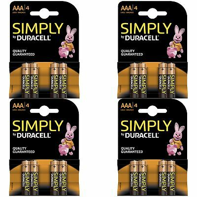16 x Duracell Simply AAA 1.5v Batteries Pack Alkaline LR03 MN2400 Lasting Power