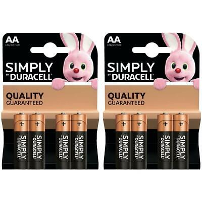 8 x Duracell Simply AA 1.5v Power Battery Pack Alkaline LR6 MN1500 Long Lasting