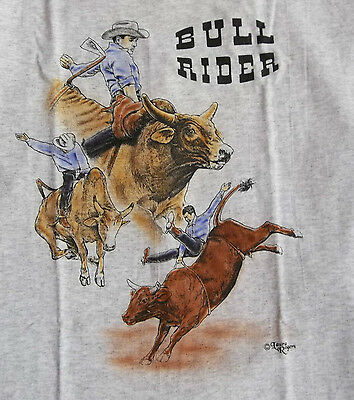 "Bull Rider T-shirt  "" Natural "" Small ( 34 - 36 )"