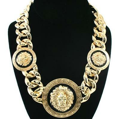 New Celebrity Style Vintage 3 Lion Head Statement Necklace with Twisted Link cha