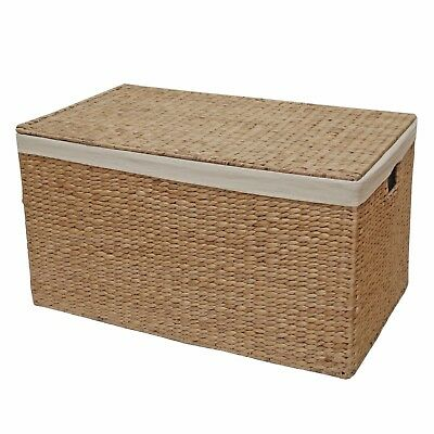 Water Hyacinth Lined Trunk, Wicker Toy Chest, Storage Basket - Bedroom Bathroom