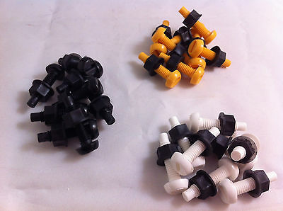 64 Pack Plastic Nylon Bolt & Nut Yellow White Black Number Plate Screws Cap Kit