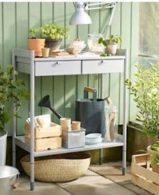 Garden Potting Working Planter Bench Table With Two drawers, Powder Coated Steel