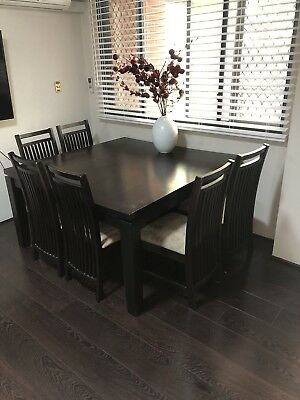 Chestnut dining table w/ 9 chairs - solid, quality