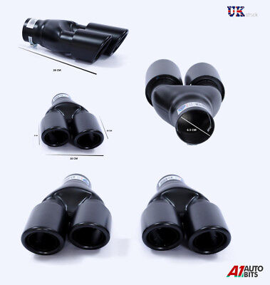 2X EXHAUST TWIN SPORT MUFFLER TRIM PIPES BLACK FOR MERCEDES C E ML S Class AMG