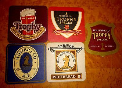 Collectable beer coasters: Set of 5 Whitbread beer coasters (ENGLAND)
