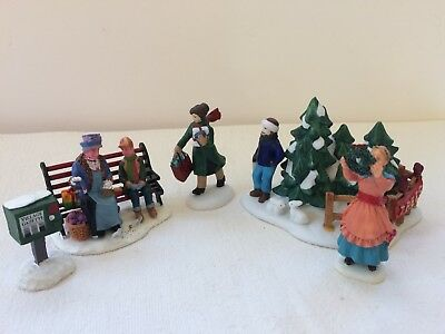 Christmas Village Figures 5 Pieces-Lemax, Dept 56, Hershey's Limited Edition