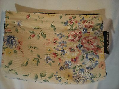 New Longaberger Cosmetic Make-Up Jewelry Bag Pouch Floral & Denim Velcro & Snap