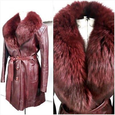 Oxblood Leather Jacket, Leather and Fox Fur Jacket, fox fur collar, Canadian Fur