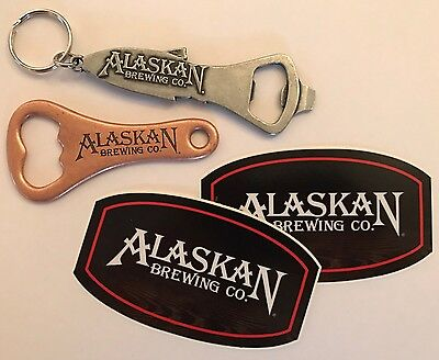 Alaskan Brewing Company Lot Speed Opener Fish Keychain & Brewery Stickers