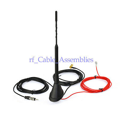 New Universal Roof Mount Active Amplified FM + DAB Radio Car Aerial Antenna Mast