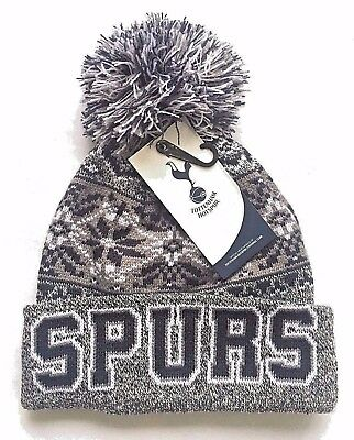 Mens Adults Official Spurs Tottenham Hotspur FC Knitted Bobble Beanie Flake Hat