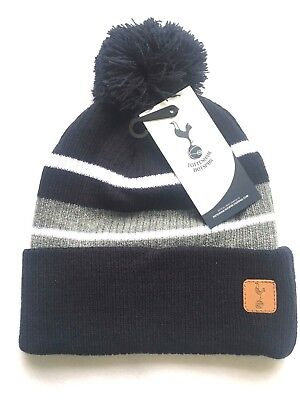 Mens Adults Official Spurs Tottenham Hotspur  Knitted Bobble Beanie Stripe Hat