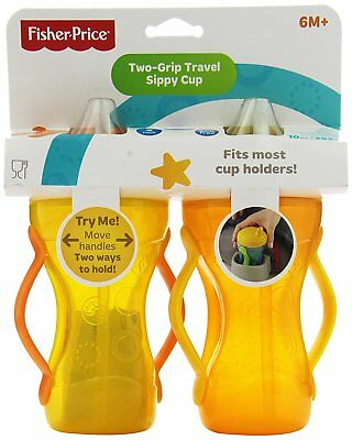 Fisher-Price Two-Grip Travel Sippy Cup Straw Top, 10 oz , 2-Count