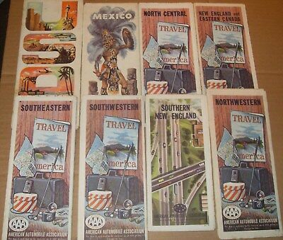 Job Lot Of 8 American Automobile Association USA Maps (1 Mexico Map) As Photo's