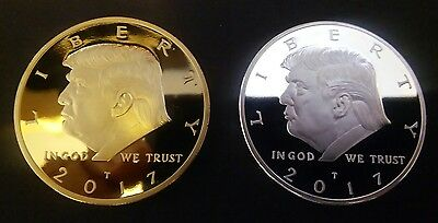 2 Coin Set 2017 President Donald Trump Inaugural Challenge Gold & Silver Eagle