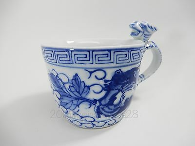 Hand Painted Chinese Blue White Dragon Handle Porcelain Tea Cup Marked Greek Key