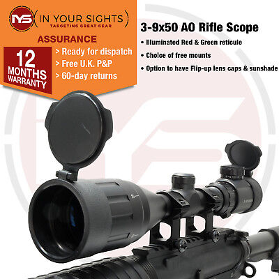 997a42d208f 3-9x50 AO Airgun Rifle scope with mounts   Air rifle scope Adjustable  Objective