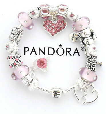 4c74787fd Authentic Pandora Bracelet Silver with Pink Wife Mom European Charms MOTHER  DAY