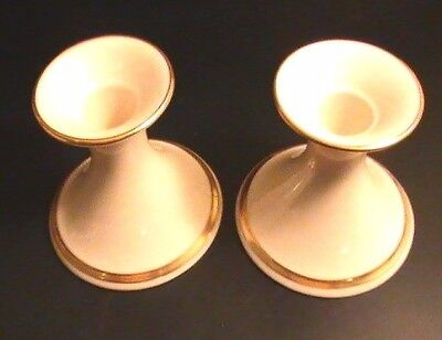 L👀K 2 Lenox 24k Gold Trimmed Ivory Candle Holders - Holiday Elegance