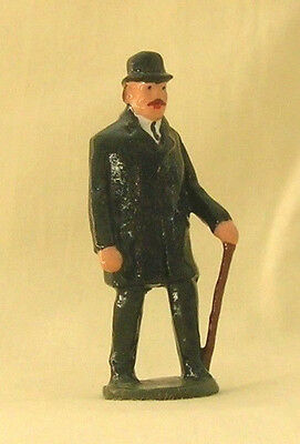 """Old Gentleman with Cane, 2-1/4"""" train layout figure, Reproduction Johillco"""