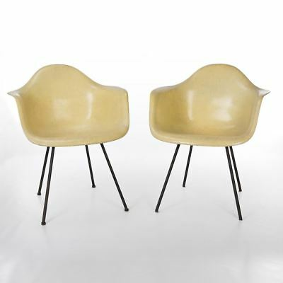 Lemon Yellow Pair (2) 1st Generation Zenith Vintage Eames DAX Dining Arm Chairs