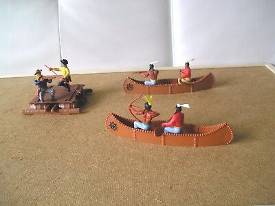 1:32 SCALE - TIMPO RIVER RAFT WITH FIGURES and TWO CANOES WITH INDIAN WARIORS