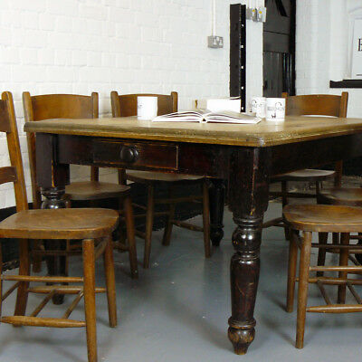 An Original Victorian Scrub Top Farmhouse Kitchen Table of Good Proportions