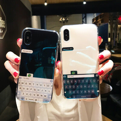 Creative Blue Light Chat Keyboard Glossy Soft Phone Case For iPhone X 6 7 8 Plus