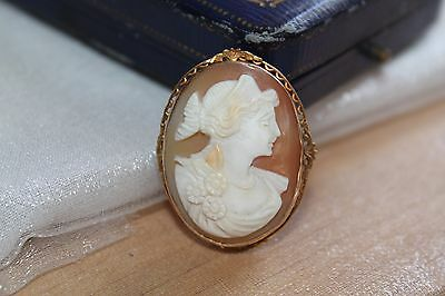 Antique 10K Gold Victorian Edwardian Hand Carved Lady Shell Cameo Pin Brooch