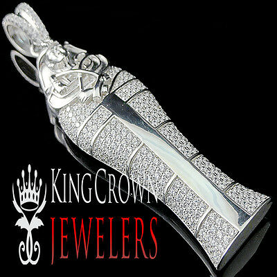 Real Sterling Silver Lab Diamond Egyptian Pharaoh King Tut Mummy Pendant Charm