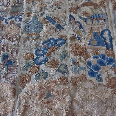 Antique Rare Fine Chinese Silk Embroidery Qing Dinasty Forbidden Stitch Pagoda