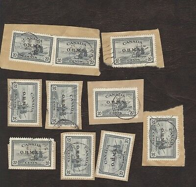 Stamps Canada # 08, 20¢, 1946, lot of 10 used stamps.