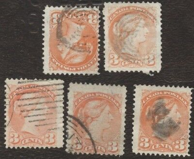 Stamps Canada # 41, 6¢, 1872, lot of 5 used stamps.