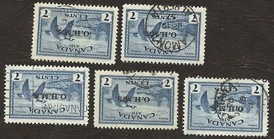 Stamps Canada # C01, 7¢, 1946, lot of 5 used stamps.