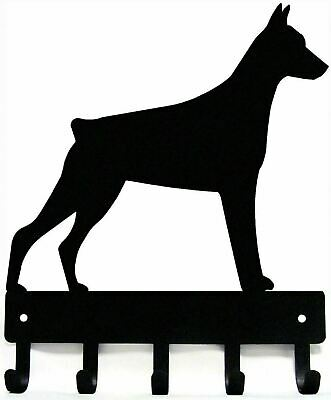 Doberman Pinscher (Cropped) Dog Leash Hanger Metal Wall Key Rack 5 Hooks Sm 6""