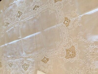 "WHITE LINEN NEEDLELACE AND EMBROIDERED TABLECLOTH 85""x64"" w/8 NAPKINS"