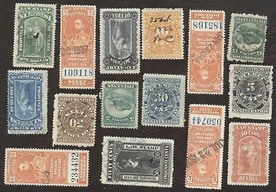 Revenue Stamps Canada 1900, lot of 15 Various used stamps.