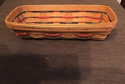 Longaberger 1993 Woven Traditions Cracker Basket Tri color blue green red