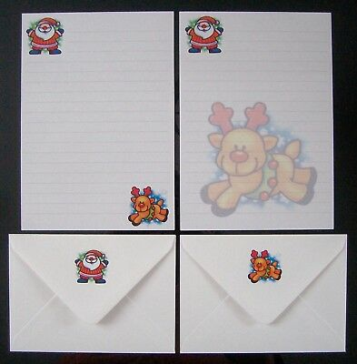 Cute Winter Santa Claus St Nick and Reindeer Letter Writing Paper Stationery Set