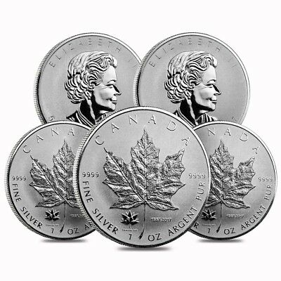 Lot of 5 - 2017 1 oz Silver Canadian Maple Leaf 150th Anniversary Privy $5 Coin