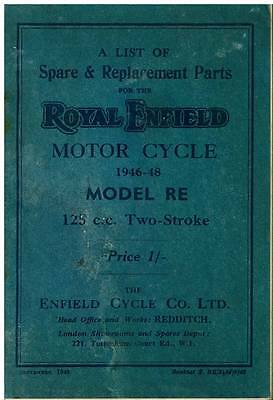 ROYAL ENFIELD MODEL RE 125cc 2STROKE 1946-48 MOTORCYCLE SPARE PARTS MANUAL