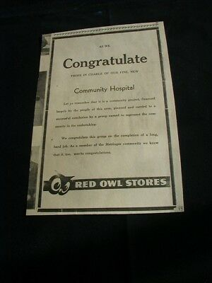 1949 red owl grocery store newspaper ad local hospital rare paper clipping